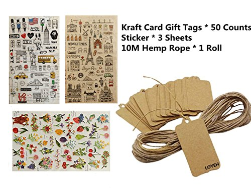 Kraft Paper Gift Tags For Christmas Party and Luggage, LOYEH 50pcs Scallop Label with 3 Sheets Stickers and 10M Jute Twines Strings 3.9Inches x 2Inches - Images Hot Websites