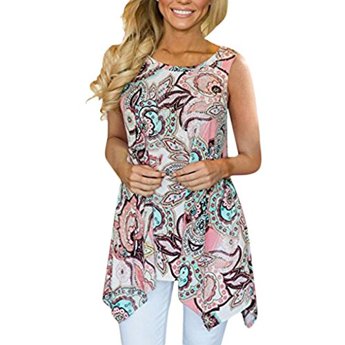 Women's Blouse Casual Tops Irregular Printed Sleeveless Asymmetrical Loose Tunic ()