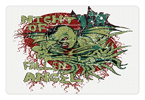 Vampire Pet Mats for Food and Water by Lunarable, Night of Fallen Angel Demonic Zombie Hunting Freaky Scary Nightmare Image, Rectangle Non-Slip Rubber Mat for Dogs and Cats, Green Red - Decorations Christmas Freaky