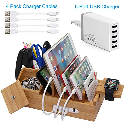Bamboo Charging Station for Multiple Devices with 5 Port USB Charger, 4 Charger Cables and Apple Watch Stand. Wood Desktop Docking Stations Organizer for Cell Phone, Tablet, Watch, Office Accessories ()