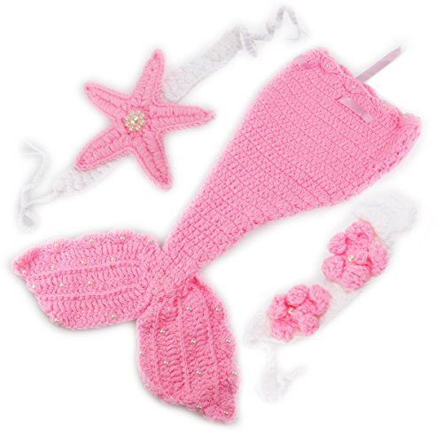 Foxnovo Mermaid Style Baby Hand Knitted Crochet Costume Baby Photograph Props Set ()
