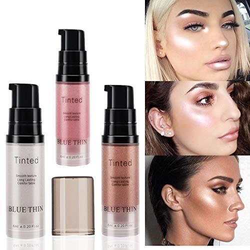YunZyun Liquid Highlighter Makeup Gold Liquid Face Eye Contour Brightener Glow Shimmer Face Cheekbones Glow Makeup,Travel Size Mini 6ml (Rose Gold)