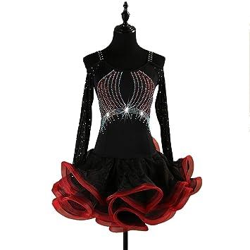 DSDBWQ Vestido de Baile Latino de Manga Larga Vestido de Falda de ...