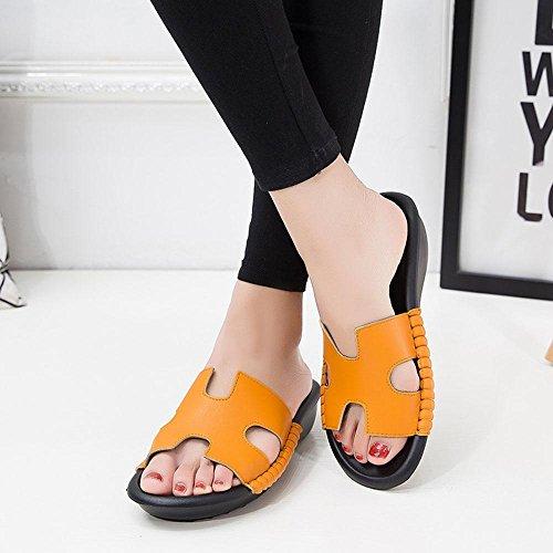 Heart&M H-Tipo de tacón medio de tacón de cuña Hollow única plataforma plana del cuero auténtico deslizadores de las sandalias de las mujeres Orange