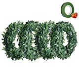 "Lvydec Ivy Garland Artificial Greenery Plants 90 Feet 32.8 Yards Fake Vine Garland Foliage Green Leaves with 1/2"" Wide Dark Green Floral Tapes for Wedding Party Ceremony DIY Headbands"