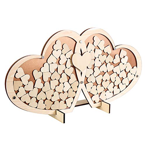 (Nuptio Unique Wedding Guest Book Alternative, Large Rustic Visitors Book with 100pcs Wooden Hearts, Wood Frame Drop Box Guestbooks with Stand (21.7