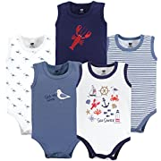 Hudson Baby 5 Pack Sleeveless Cotton Bodysuits, Sea Shore, 12-18 Months