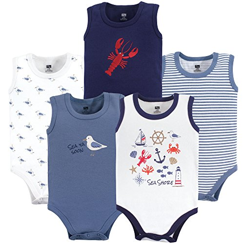 Hudson Baby Unisex Baby Sleeveless Cotton Bodysuits, sea Shore 5-Pack, 18-24 Months ()