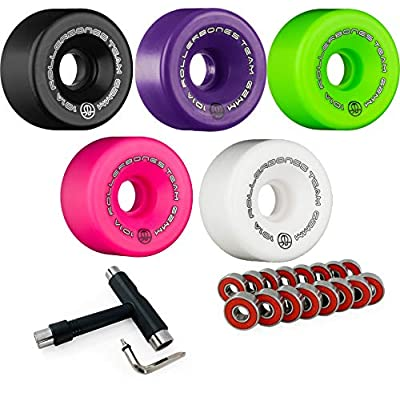 RollerBones Team Logo 101A Indoor Roller Skate Wheels (Set of 8) with Bank Roll ABEC 9 Bearings and Laces : Sports & Outdoors