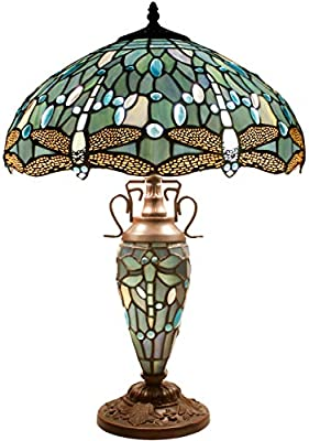 Tiffany Table Lamp 24 Inch Tall 3 Light Sea Blue Stained