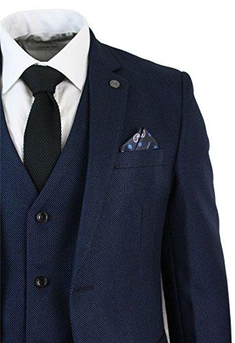Costume Mariage Noir Hommes Blue Designer Bleu Pièces Smart Fête Coupe Tailored Formel 3 rrqxSPCn