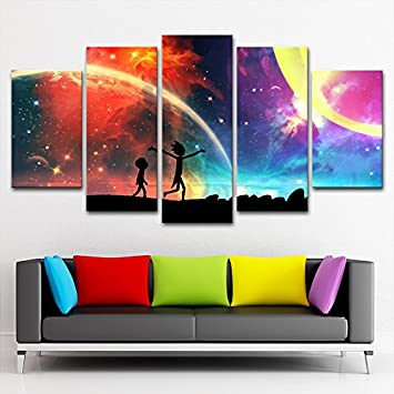 living room canvas art. 5 Panels Canvas Painting Rick And Morty Poster Wall Art  Modern Home Decor Amazon com