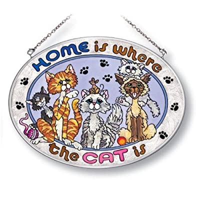 Amia Oval Suncatcher Hand-Painted on Glass, Home is Where the Cat Is, 7 by 5-1/2-Inch, Medium (5191): Home & Kitchen