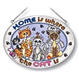 Amia Oval Suncatcher Hand-Painted on Glass, Home is Where the Cat Is, 7 by 5-1/2-Inch, Medium