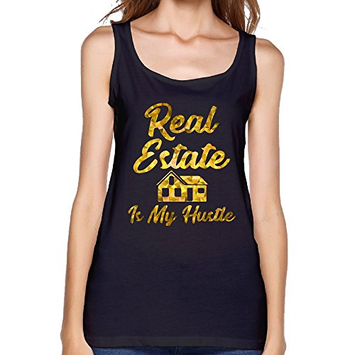 Womens Real Estate Is My Hustle Funny Realtor Gift Cotton Workout Tank Tops Scoop-Neck Casual