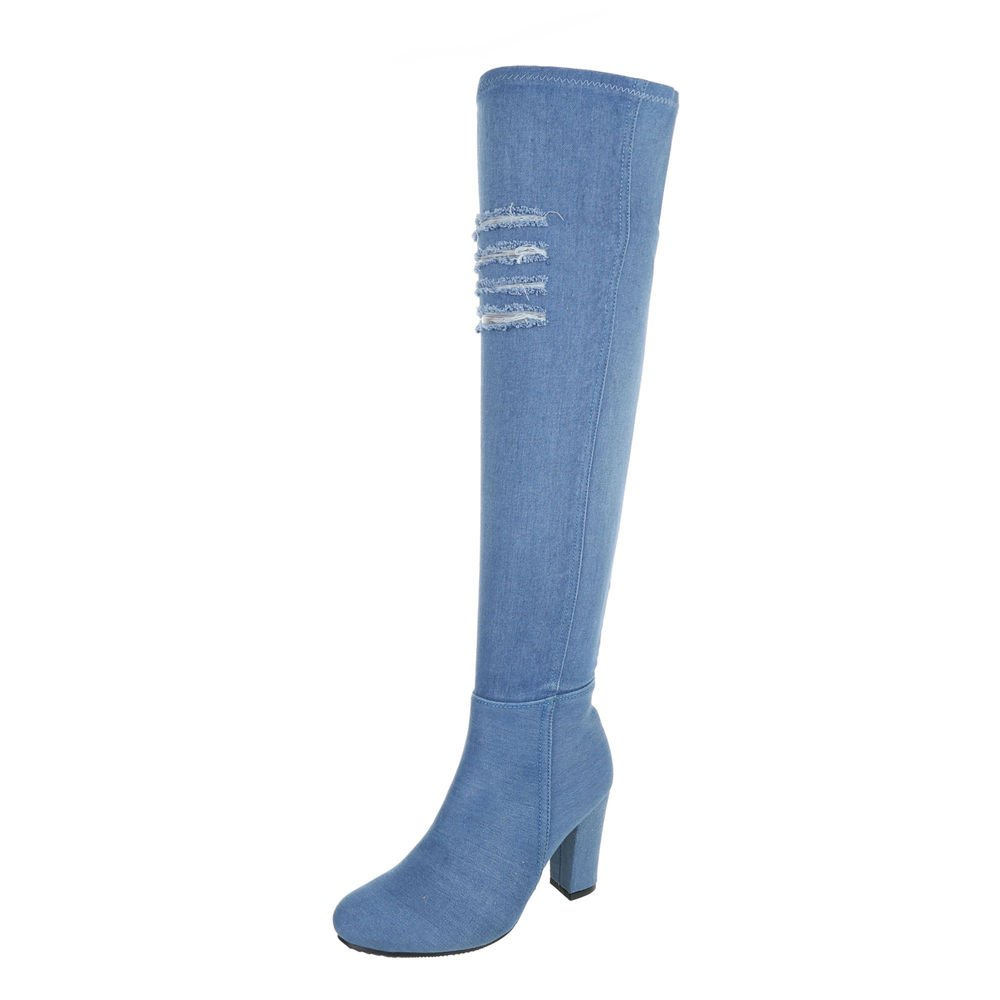 Ital-Design Overknees Damenschuhe Klassischer Stiefel Pump Moderne Reißverschluss Stiefel  41 EU|Hellblau