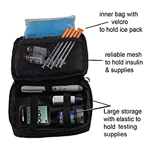 Diabetic Organizer Cooler Bag-for Insulin, Testing Supplies ,With Ice Pack Included