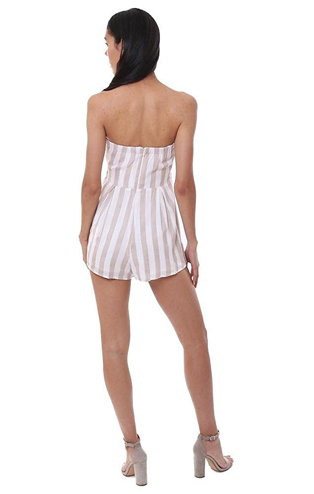 Blue Blush Rompers Striped Strapless Ivory//Taupe Jumper