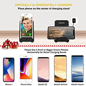 iPhone X Wireless Charger - miraku Fast Wireless Charging Pad Stand for Samsung Galaxy Note 8 S8 S8 Plus S7 S7 Edge Note 5 S6 Edge Plus, Standard Charge for Apple iPhone X / 8 / 8 Plus