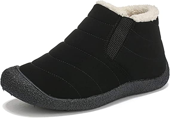 Gaatpot Hiver Chaussures Bottes Chaudes Bottines De Neige Chaussons Antidérapage Mode Courts Boots avec Fourrure Doublure pour Femme Homme,Noir Bleu