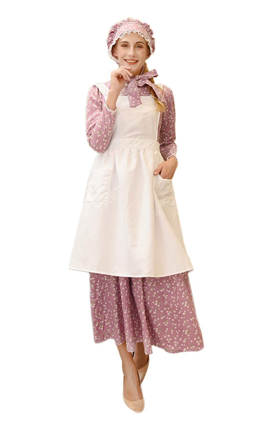 Victorian Dresses | Victorian Ballgowns | Victorian Clothing ROLECOS Pioneer Costume Dress Womens American Historical Clothing Modest Prairie Colonial Dress $43.99 AT vintagedancer.com