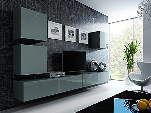 Delightful Wohnwand U0027 Vigo 22u0027 Hochglanz Hängeschrank Lowboard Cube , Farbe:grau Matt  / Grau Nice Ideas