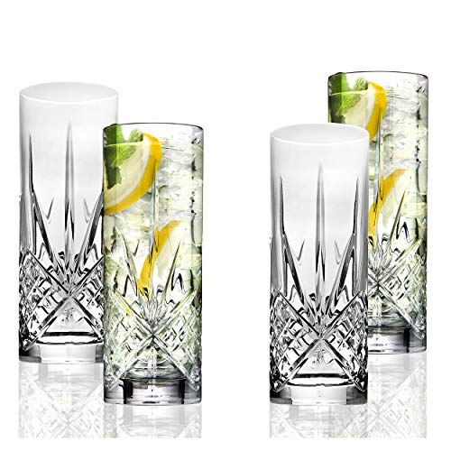 Godinger Tall Beverage Glasses Collins All Purpose - Dublin Collection, SET OF 4 ()