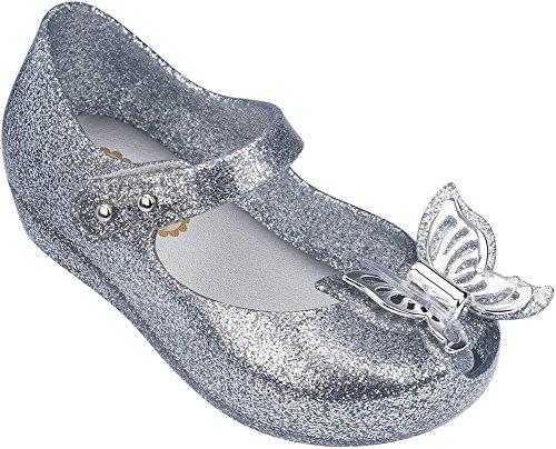 Image of Mini Melissa Girls' Mini Ultragirl Fly Ballet Flat, Silver, 10 Medium US Toddler