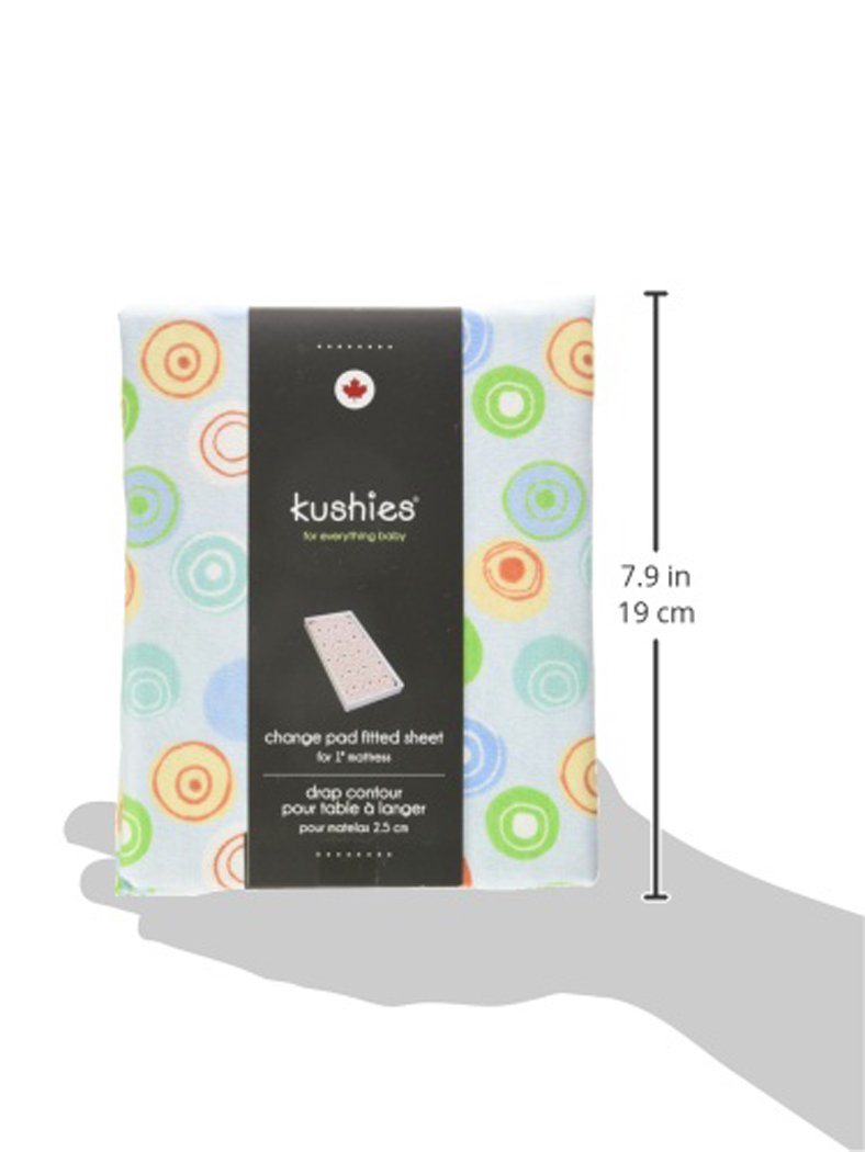 Made in Canada Kushies Changing Pad Cover for 1 pad 100/% breathable cotton Blue Crazy Circles
