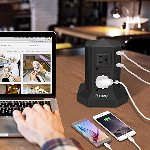 Tower Power Strip Surge Protector 8 AC Outlets with 6 Usb ports Chargers Black-Powerjc by Powerjc (Image #1)