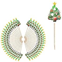 Festive Party Christmas Cocktail Stick Toppers - Xmas Tree (50 Pack)