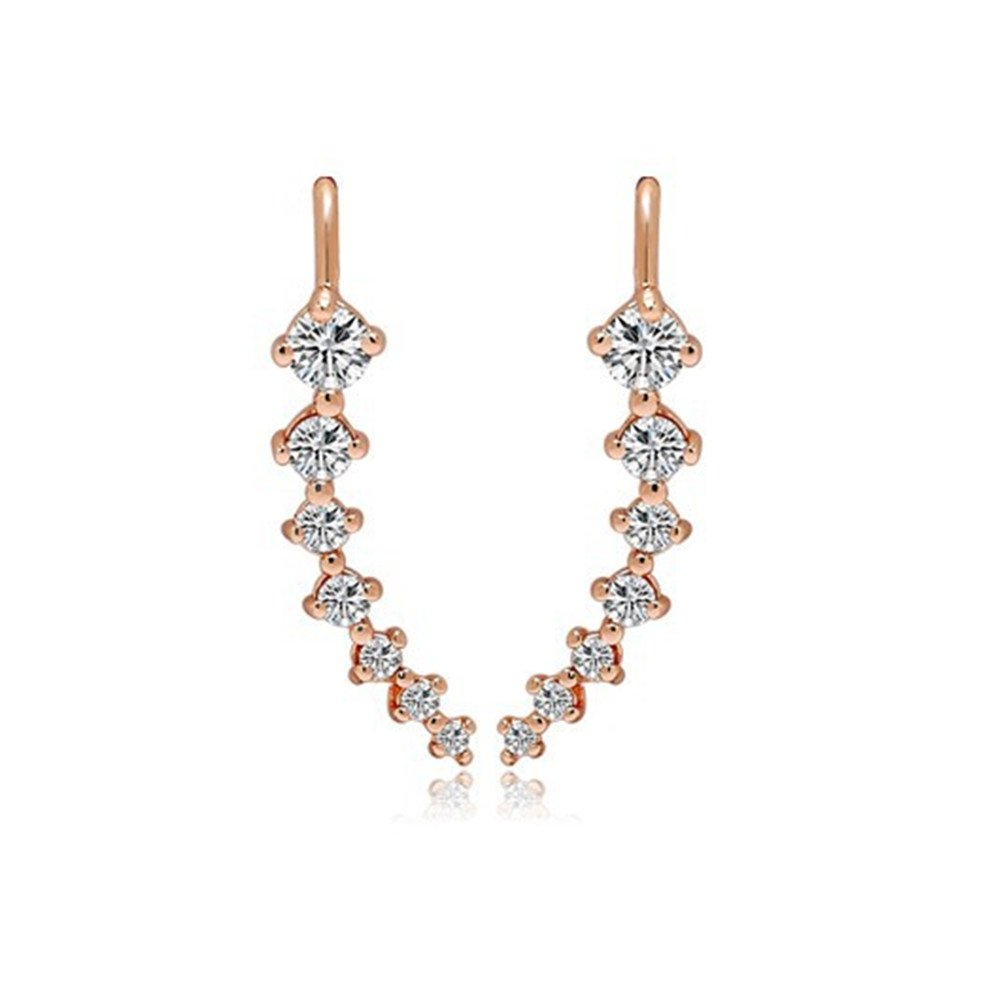 1Pair Fashion Charming Women CZ Crystal Ear Sweep Cuff Earrings Hook Jewelry, Gold ODETOJOY0708