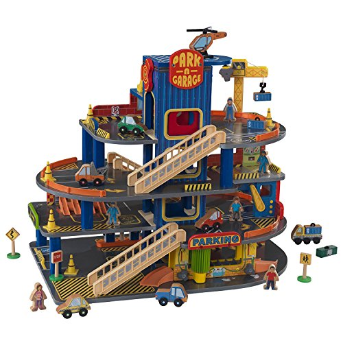 Deluxe Garage Playset - KidKraft Deluxe Wooden Parking Garage And Car Wash Playset