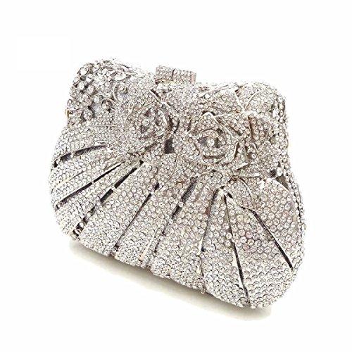 Crystal Rhinestone De La Flor De Embrague De Las Mujeres De Bling Rose Monedero Bolsos De Tarde Silver