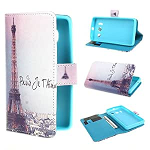 TJA Scenic Eiffer Tower Design Wallet PU Leather Stand Flip Case Cover for Huawei Ascend Y300