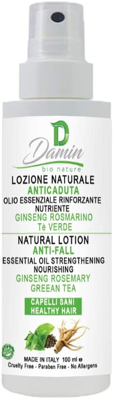 Damin Bio Nature Aceite Natural Anticaida para Cabello con Té Verde Ginseng y Romero - Serum Tratamiento Crecimiento previene la Caída Hombre y Mujer 100ml