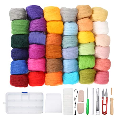 Jeteven 36 Colors Wool Yarn Roving, Fibre Hand Spinning DIY Craft for Needle Felting with 1 Set Needle Felting Kit Wool Felt Tool