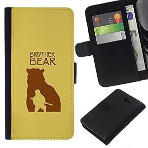 YiPhone /// Tirón de la caja Cartera de cuero con ranuras para tarjetas - Hermano Oso - Sony Xperia M2