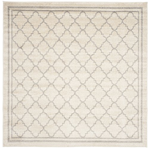 5 Square Rug (Safavieh Amherst Collection AMT422E Beige and Light Grey Indoor/ Outdoor Square Area Rug (5' Square))