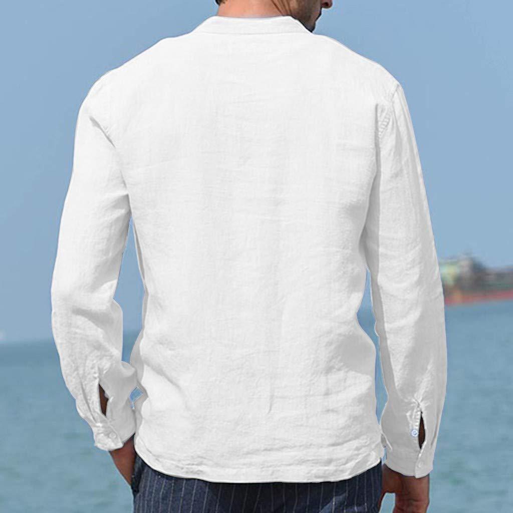 QingFan Mens Baggy Cotton Linen Pocket O-Neck Solid Long Sleeve Retro T Shirts Tops Blouse