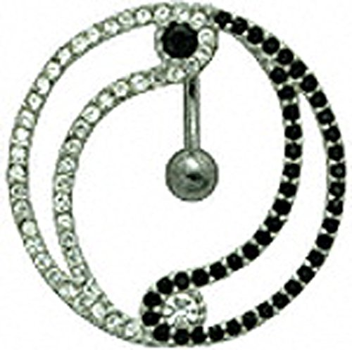 Silver reverse lock belly button ring Yin Yang design with CZ black / Clear crystal - packed in a lovely velvet (Yin Yang Button)