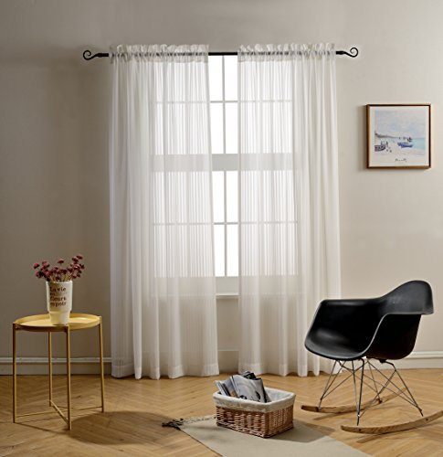 Mysky Home Rod Pocket Solid White Striped Voile Sheer
