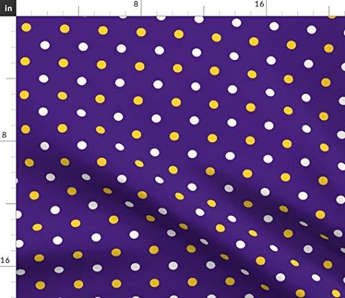 Spoonflower Louisiana Fabric - Louisiana State Univers LSU Tigers Tigers Purple Yellow Polka Dot LSU Print on Fabric by The Yard - Chiffon for Sewing Fashion Apparel Dresses Home Decor