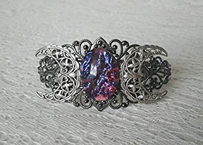 Fire Opal Triple Moon Cuff Bracelet handmade jewelry wiccan pagan wicca witch goddess witchcraft gothic