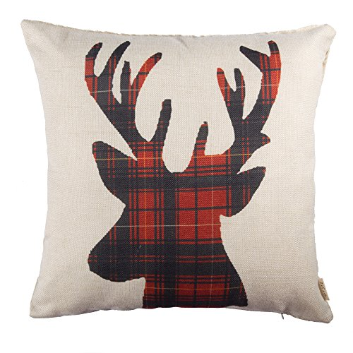 Fjfz Cotton Linen Home Decorative Throw Pillow Case Cushion Cover for Sofa Couch Christmas Winter Deer, Scottish Buffalo Plaid, Red, 18
