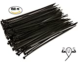 Cable Zip Ties 10 inch Heavy Duty. 150 Piece, Large Pack of Black Nylon Wire Zip Ties by Strong Ties. 50 Pounds Tensile Strength, Indoor Outdoor UV Resistant.