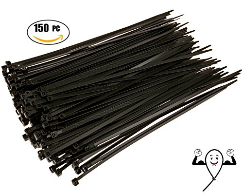 Cable Zip Ties 10 inch Heavy Duty. 150 Piece, Large Pack of Black Nylon Wire Zip Ties by Strong Ties. 50 Pounds Tensile Strength, Indoor Outdoor UV Resistant. - Case 6 Tarps