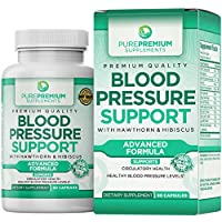 Premium Blood Pressure Support Supplement by PurePremium with Hawthorn & Hibiscus – Natural Anti-Hypertension for Cardiovascular & Circulatory Health – Vitamins & Herbs Promote Heart Health – 90 Caps
