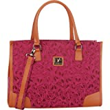Diane Von Furstenberg Luggage Hearts 18 Inch Fashion Tote, Beet/Plum, One Size, Bags Central