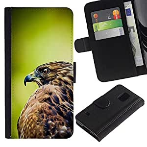 All Phone Most Case / Oferta Especial Cáscara Funda de cuero Monedero Cubierta de proteccion Caso / Wallet Case for Samsung Galaxy S5 V SM-G900 // halcón verde plumas naturaleza presa pájaro